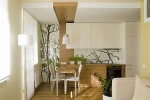 Glasplatte Für Küche : kleines wohnzimmer mit offener k che holz creme ~ Michelbontemps.com Haus und Dekorationen