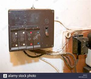 Domestic Electric Fuse Box In Unsafe Condition Wales Uk Stock Photo  4018752