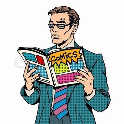 Comic Magazine Clipart Reading Pop Reads Retro