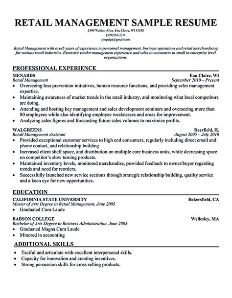 Retail Manager Resume Exles by Retail Store Manager Resume Retail Manager Resume Is Made