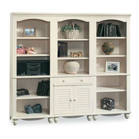 Sauder Bookcase White by Sauder Harbor View Bookcase Wall Antique White Ebay