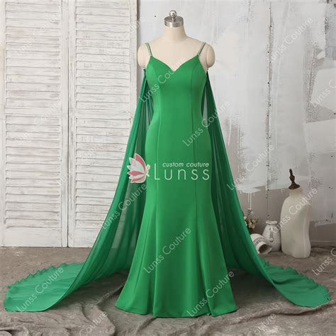 green satin fitted prom dress  detachable cape lunss