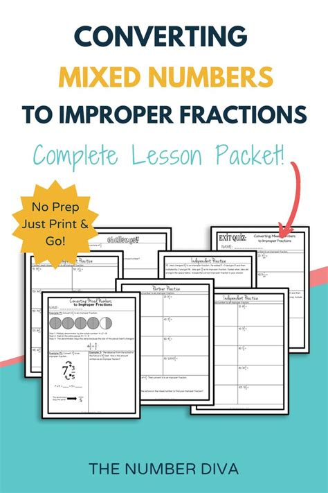 converting mixed numbers  improper fractions lesson
