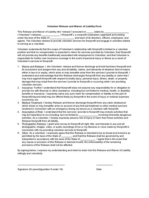 volunteer waiver  release form   templates