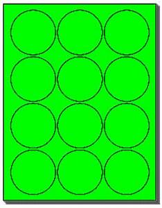 240 labels 2 1 2 inch round flourescent neon green 12 for Avery 2 inch round labels 20 per sheet