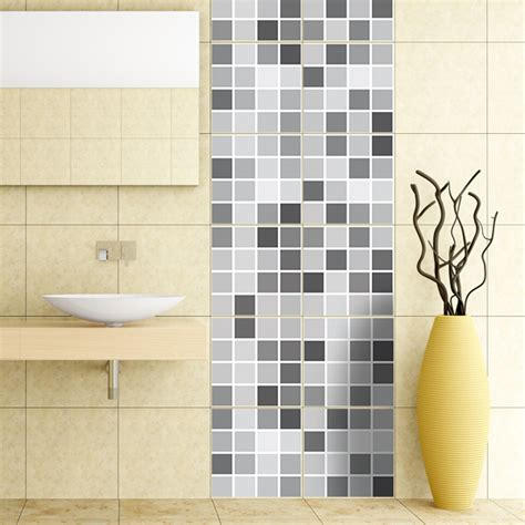 kit  vinilos  azulejos mosaico de grises