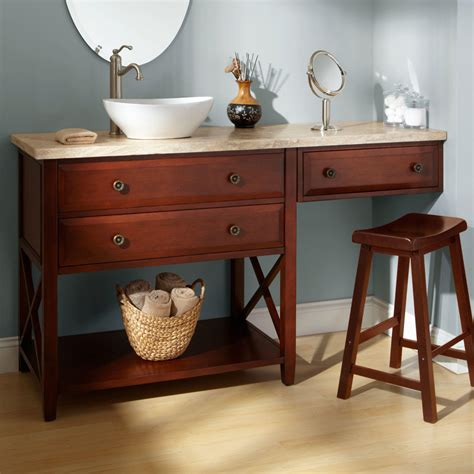 bathroom vanity with sink and makeup area 72 quot clinton double vanity with makeup area cherry