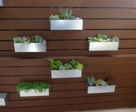 metal wall planters metal hanging planter box horizontal fence by metrogardens