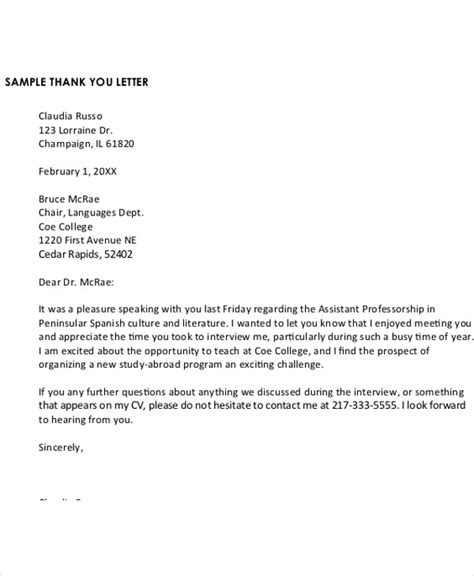 A Thank You Letter For An by 13 Sle Formal Thank You Letter Free Sle Exle