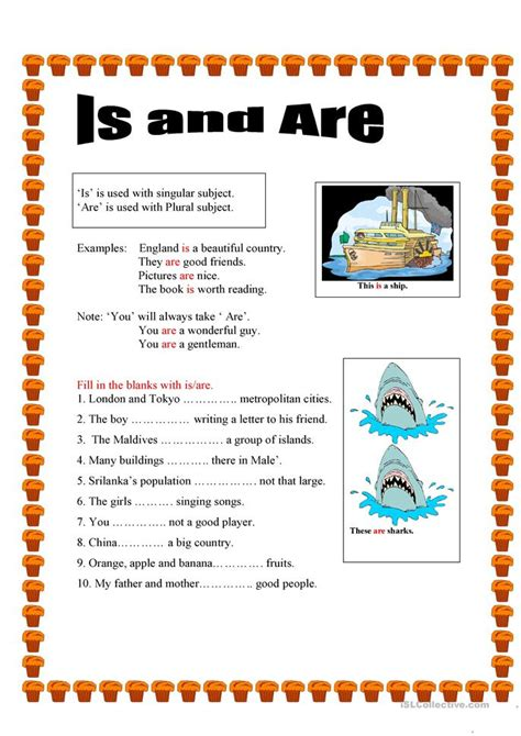 use of is and are worksheet free esl printable
