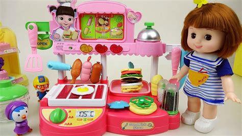 kitchen toys baby doll cooking sausage food  pororo