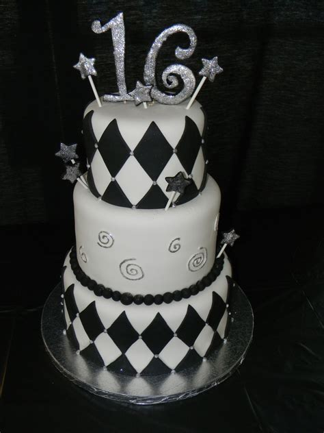 Coffee cake with an expresso swiss meringue buttercream and just a dash of tia maria! Black And White 16Th Birthday Cake For Boy - CakeCentral.com