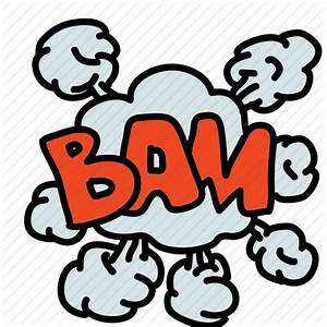 Bam, banners, cartoon, cloud, comic, labels, smoke icon ...