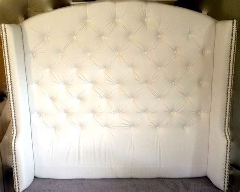 White Headboard With Crystals by Tufted Slightly Arched Wingback Headboard