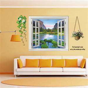 3D 110cm Window Landscape View Removable Wall Sticker Wall ...
