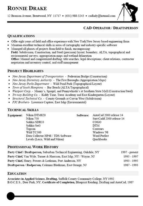 pin cad operator draftsperson resume sle on