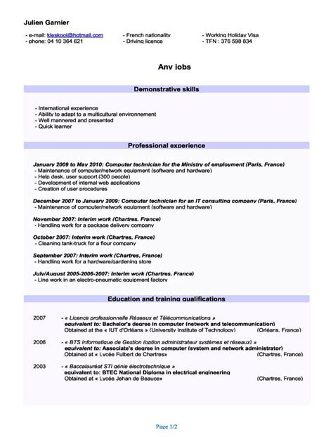 Exemple Curriculum by Modele Cv Eleve 3eme