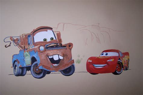 cars wall mural and painted by eric with