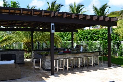 table cuisine retractable outdoor kitchen and pergola project mediterranean