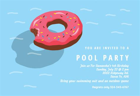 donut inflatable pool party invitation template