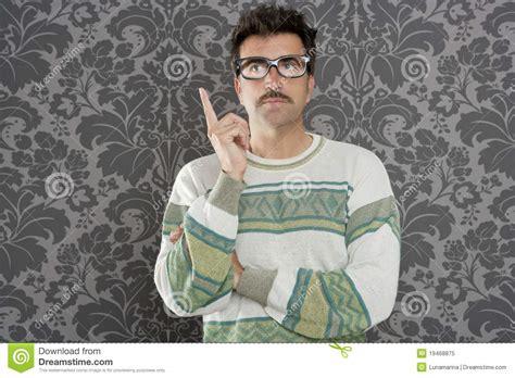 Nerd Pensive Silly Man Retro Wallpaper Royalty Free Stock