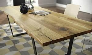 Table Bois Massif Design : table a manger en chene massif avec pietement v collection nuxe wood mobilier ~ Teatrodelosmanantiales.com Idées de Décoration