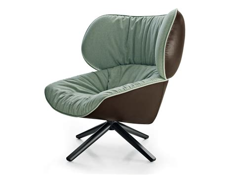 Swivel Upholstered Fabric Armchair Tabano By B&b Italia