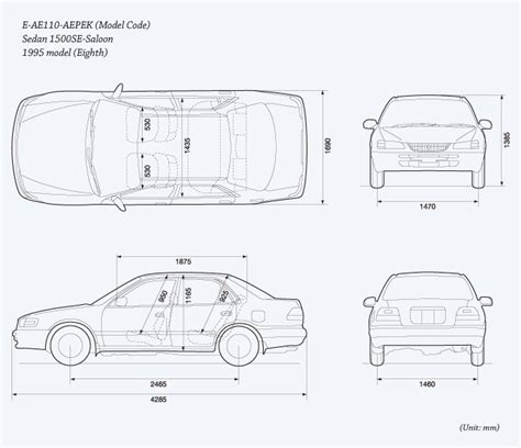 Toyota Corolla Dimensions by Toyota Global Site Corolla The Eighth Generation 05