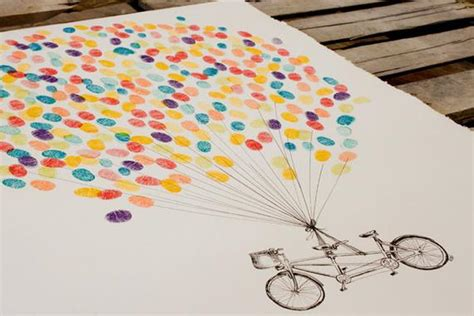 Guest Book Fingerprint Balloon Kit Hand Drawn Tandem Bike For