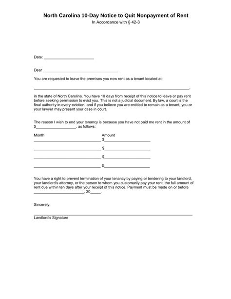 north carolina  day notice  quit form  payment