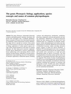 Pdf  The Genus Phomopsis  Biology  Applications  Species Concepts And Names Of Common