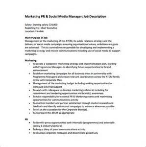 Marketing Manager Job Description Sample