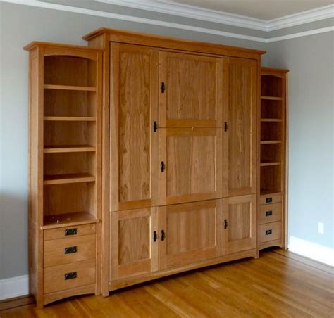 Matching Bookshelves by Craftsman Style Wallbed Murphy Bed With Matching Side