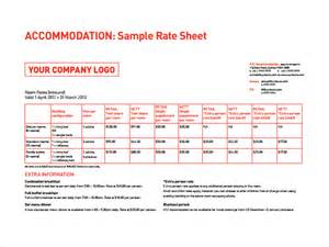 Rate Sheet Template Sle Rate Sheet Template 5 Free Documents In Pdf