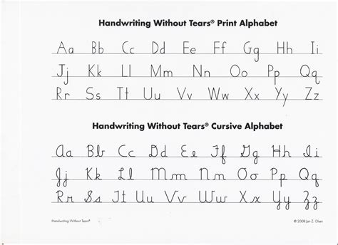 handwriting without tears printable letters