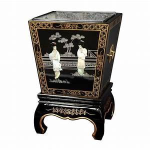 Shop Oriental Furniture 16-in Black Square Wood Plant