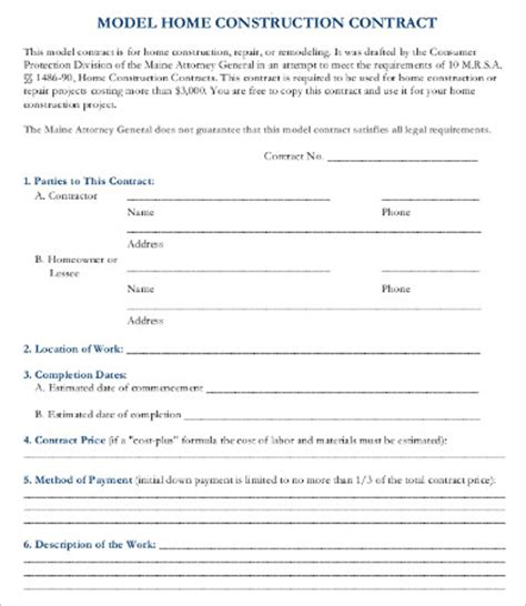 contractor contract template 15 sle construction contract templates free sle exle format free