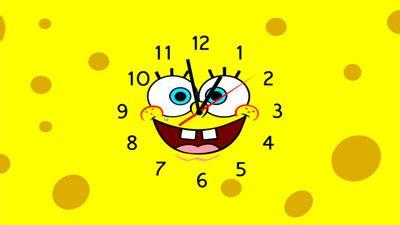 spongebob squarepants clock screensaver  screensavers  fabuloussaverscom