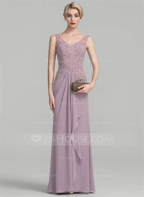 A Line/Princess V neck Floor Length Chiffon Lace Mother of