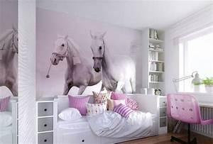Ideen Für Kinderzimmer Wandgestaltung : fototapete wei e pferde mit rosa nuance kinderzimmer ~ Lizthompson.info Haus und Dekorationen