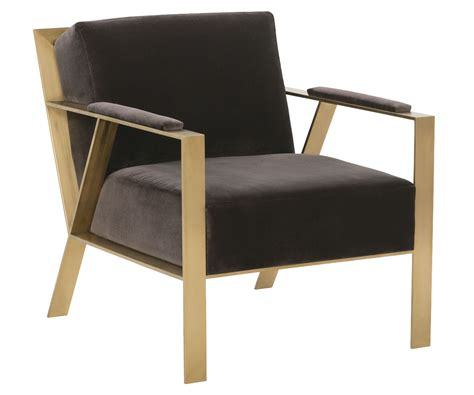 Modern Fabric Accent Chair With Gold Metal Frame Club
