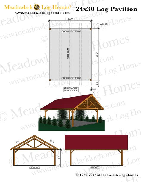 24x30 log pavilion meadowlark log homes