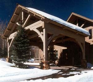 Timber Frame Porte Cochere With King Post Truss Ski