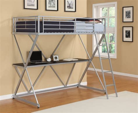 bunk bed with computer desk metal loft bunk bed home office computer workstation desk