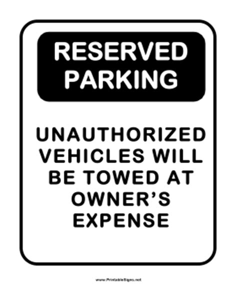 Reserved Parking Signs Template by Printable Notice Reserved Parking Sign