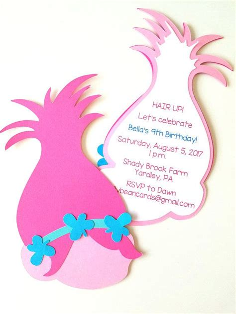 trolls hair template trolls party invitations pack of 10 abigail s 5th