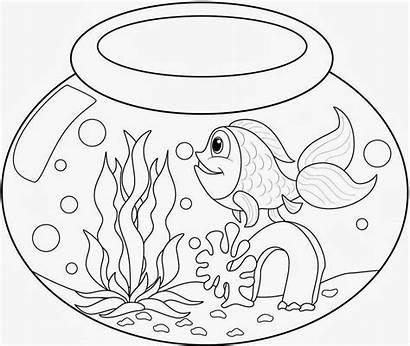 Goldfish Bowl Coloring Pages Fish Drawing Fishbowl