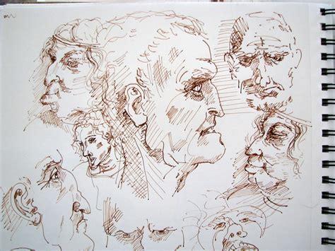 desideratum art  jewelry   ink drawings  heads