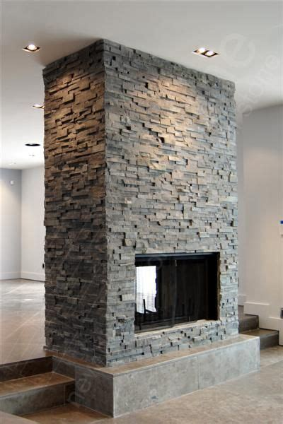 Slate Veneer Fireplace - norstone charcoal rock panels for stacked