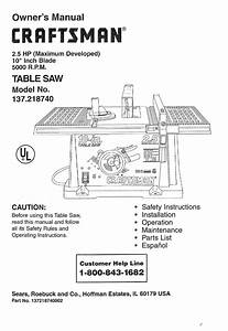 Sears Craftsman 10 Inch Table Saw Manual